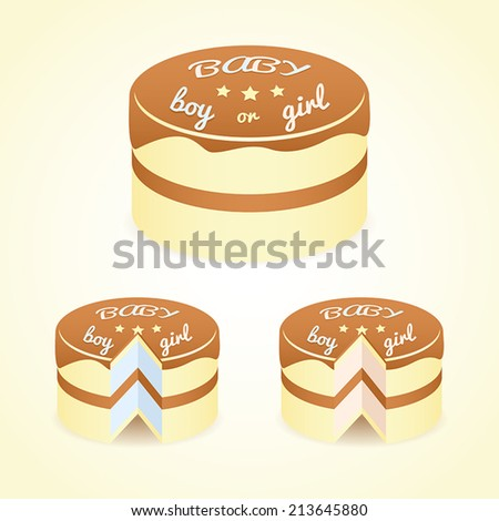 Gender Reveal cake, intact one and cakes for boy and girl - stock vector