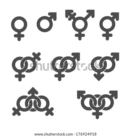 Gender symbol icons. Graphic vector elements set. - stock vector