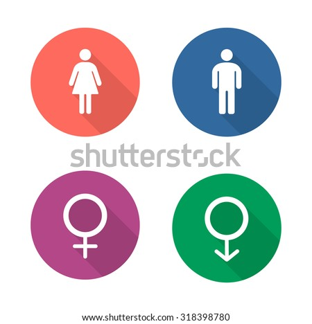 Gender symbols flat design icons set  Wc entrance man and woman long shadow  emblems in. Male And Female Symbols Stock Images  Royalty Free Images