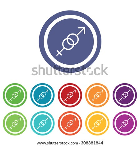 Gender symbols signs set, on colored circles, isolated on white - stock vector
