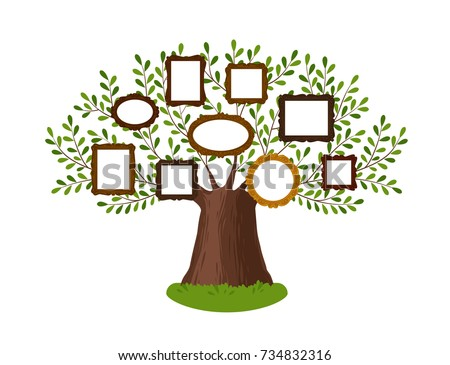 Genealogical Family Tree Picture Frames Pedigree Vectores En Stock ...
