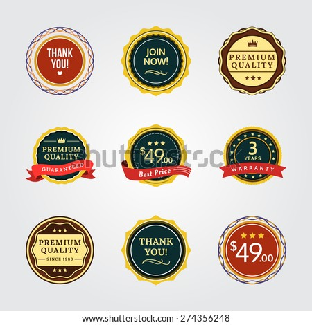General Badges. General badges set for your designs, such us for your product, online shop, email newsletter or email marketing, web banner, print ad, etc. - stock vector