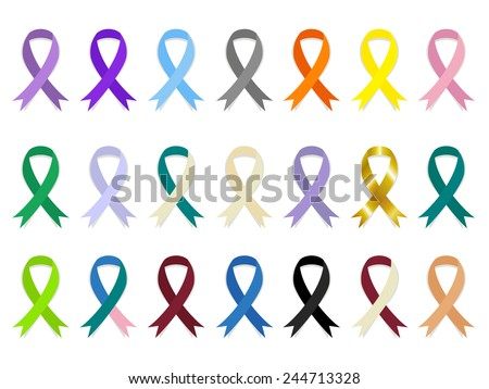 General cancer awareness ribbons, vector illustration set collection - stock vector