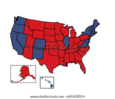 United States Colored Republican Red Stock Vector - Us electoral map vector graphic