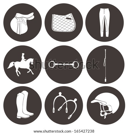 General horseback riding essentials icon set. Collection of vector icons with horse equipment. High quality equestrian illustration, including saddle, horse, boots, rider and other stuff. - stock vector