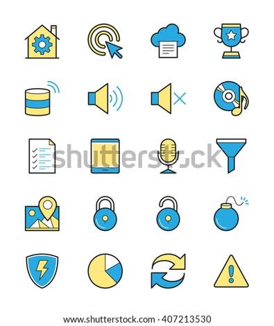 General icon set 3, Monochrome color - Vector Illustration  - stock vector