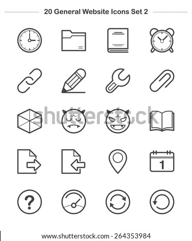 General icons Set 2, line icon, Vector illustration - stock vector