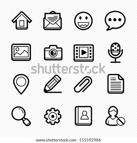 General Website line Icons on white background - Vector illustration