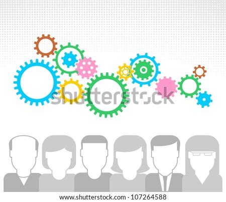 Generating new ideas illustration. Teamwork concept. - stock vector