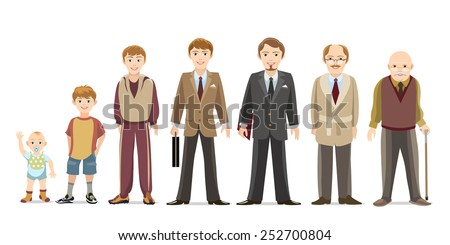 Generation of men from infants to seniors. Child and teenager, boy and an elderly man. Vector illustration - stock vector