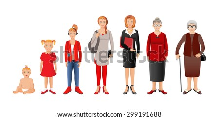 Generation of woman from infants to seniors. Baby, child, teenager, student, business woman, adult and senior woman. 