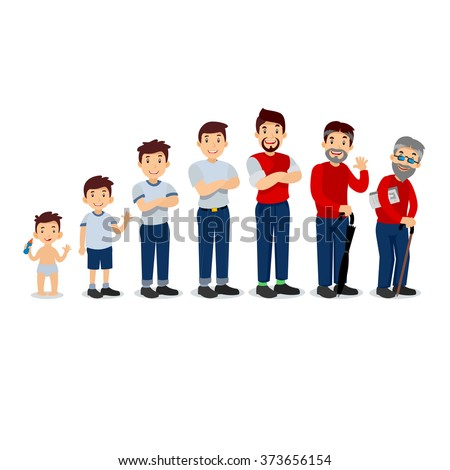 Generations man. People generations at different ages. All age categories - infancy, childhood, adolescence, youth, maturity, old age. Stages of development.  - stock vector