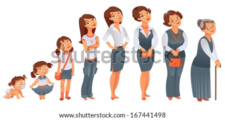 Generations woman. All age categories - infancy, childhood, adolescence, youth, maturity, old age. Stages of development. Vector illustration - stock vector