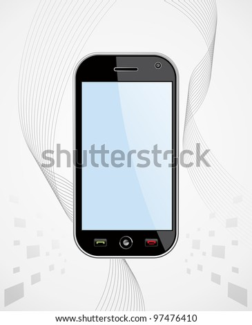 Generic black smart-phone on white background with blank space for your own design or image. Useful for mobile applications presentation. EPS 8 vector, grouped and ordered in layers for easy editing. - stock vector