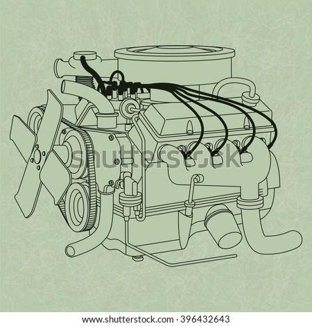 Generic Car Engine Diagram On Green Stock Vector (2018) 396432643 ...