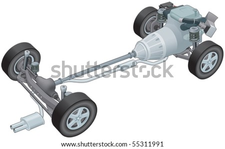 Generic car rolling chassis - stock vector