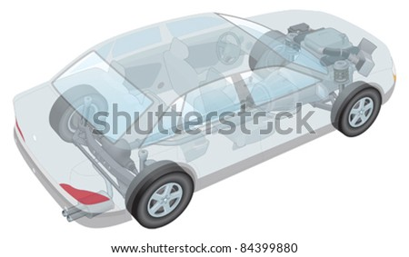 Generic car, showing seats, transmission and engine - stock vector