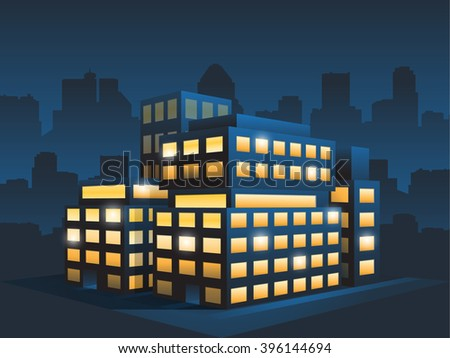 generic corporate modern office building at night - stock vector