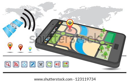 Generic GPS navigation system device (3d illustration) - stock vector