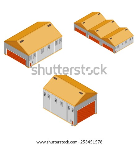 Generic industrial factory and storage buildings. Isometric Warehouse and Factory Buildings. Production and storage facilities. - stock vector