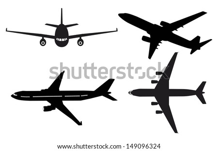 Generic plane silhouettes - stock vector