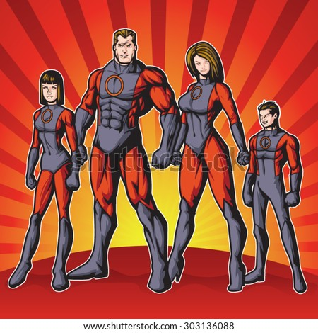 Generic superhero family standing proud.  Layered & easy to edit. See portfolio for other images. - stock vector