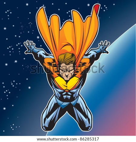 Generic superhero figure flying above a planet. - stock vector