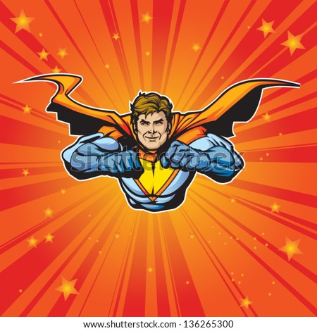 Generic superhero figure flying forward at a fast pace. Layered & easy to edit. See portfolio for simular images. - stock vector