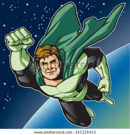 Generic superhero figure flying in space.  Layered & easy to edit. See portfolio for simular images.