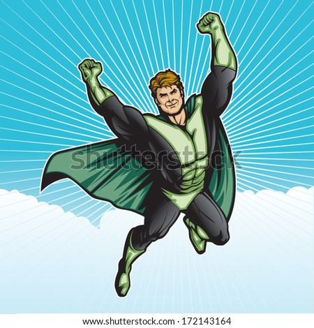Generic superhero figure flying in the sky.  Layered & easy to edit. See portfolio for similar images. - stock vector