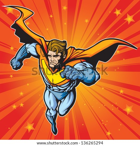 Generic superhero figure running/flying forward at a fast pace.  Layered & easy to edit. See portfolio for simular images. - stock vector