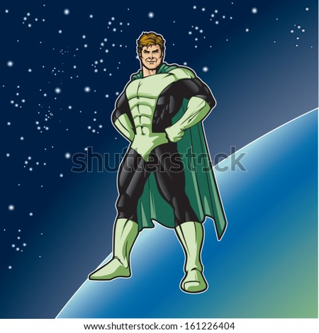 Generic superhero in a heroic stance.  Layered & easy to edit. See portfolio for simular images. - stock vector