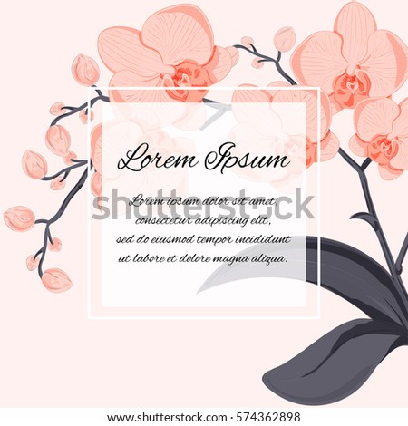 generic template of an invitation (incl. wedding, birthday, anniversary or similar event), cover page, flyer, poster, banner design with orchids and your text message; vector illustration