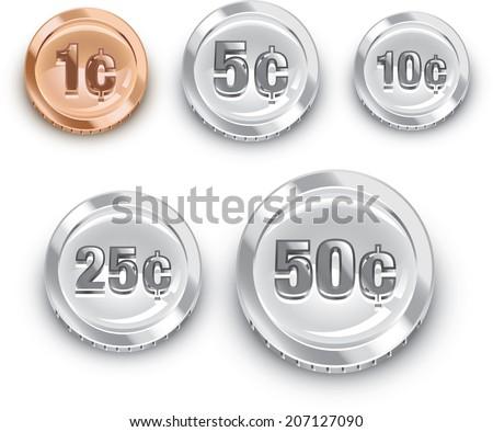 Generic Us Coins Stock Vector 207127090 Shutterstock