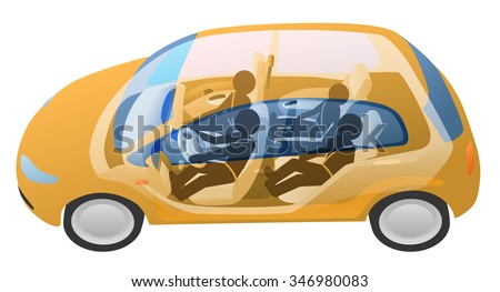 generic vehicle and driver, passengers, vector illustration