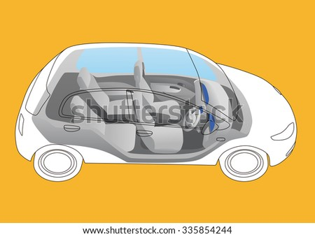 generic vehicle exterior and interior, vector illustration