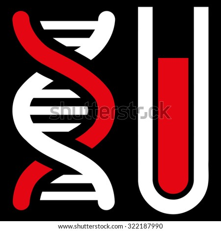 Genetic Analysis vector icon. Style is bicolor flat symbol, red and white colors, rounded angles, black background. - stock vector