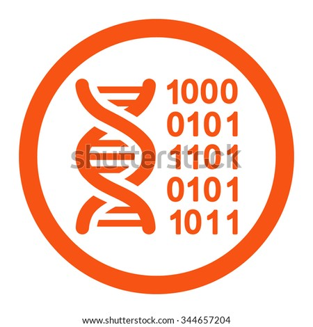 Genetic Code vector icon. Style is flat rounded symbol, orange color, rounded angles, white background.