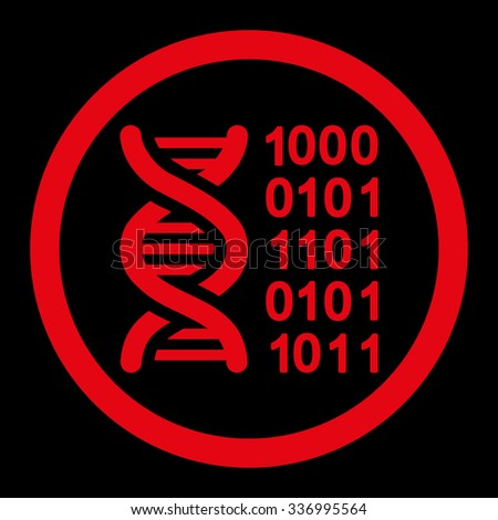 Genetic Code vector icon. Style is flat rounded symbol, red color, rounded angles, black background. - stock vector