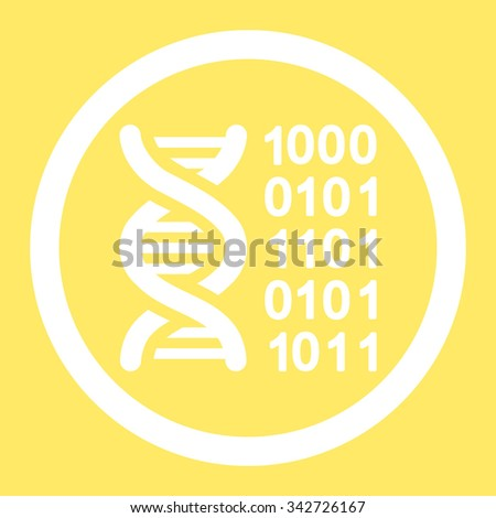 Genetic Code vector icon. Style is flat rounded symbol, white color, rounded angles, yellow background.
