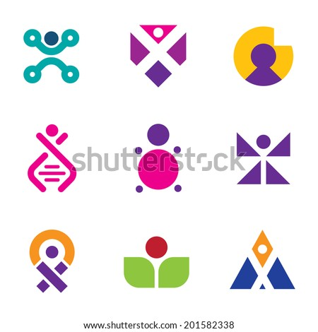 Genetic evolution human technology engineering set family icon logo DNA - stock vector
