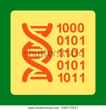 Genetical Code vector icon. Style is flat rounded square button, orange and yellow colors, green background.