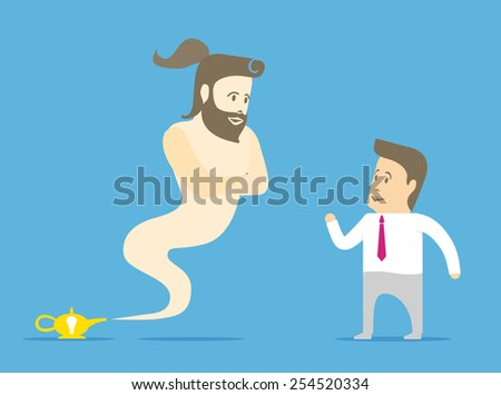 Genie flew out of the lamp and is ready to meet the desires of a businessman - stock vector