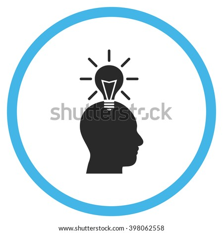 Genius Bulb vector bicolor icon. Image style is a flat icon symbol inside a circle, blue and gray colors, white background. - stock vector