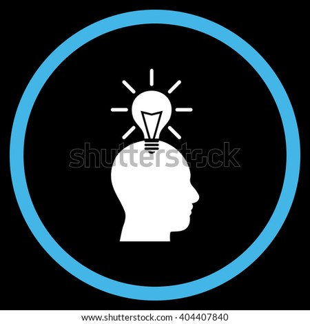 Genius Bulb vector bicolor icon. Image style is a flat icon symbol inside a circle, blue and white colors, black background. - stock vector