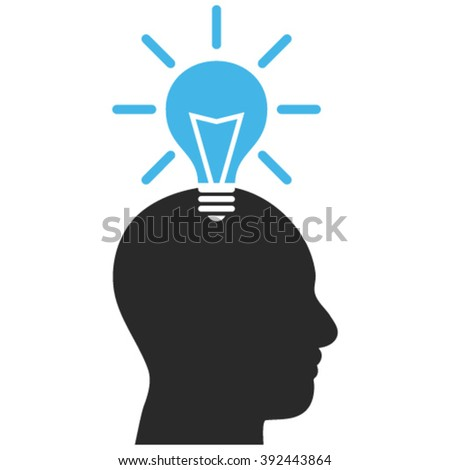 Genius Bulb vector icon. Image style is bicolor flat genius bulb pictogram drawn with blue and gray colors on a white background. - stock vector