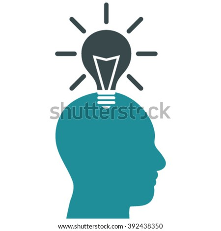Genius Bulb vector icon. Image style is bicolor flat genius bulb pictogram drawn with soft blue colors on a white background. - stock vector