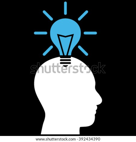 Genius Bulb vector icon. Picture style is bicolor flat genius bulb icon drawn with blue and white colors on a black background. - stock vector