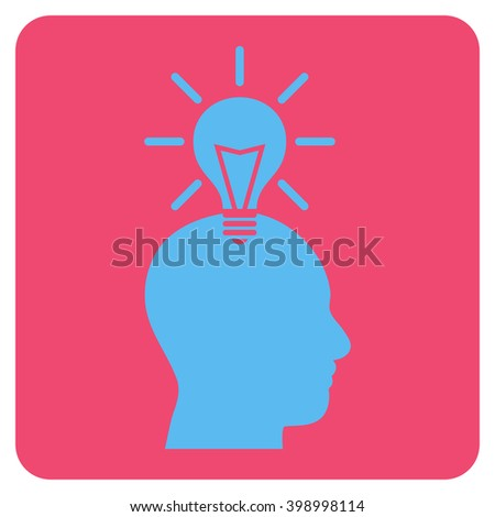 Genius Bulb vector symbol. Image style is bicolor flat genius bulb iconic symbol drawn on a rounded square with pink and blue colors. - stock vector