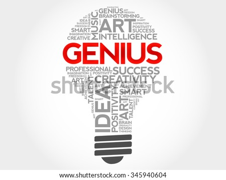 Genius bulb word cloud concept - stock vector